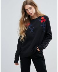French Connection - Black Posey Pop Embroidered Sweatshirt - Lyst