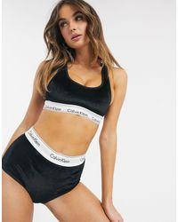 Черные Бархатные Трусики С Завышенной Талией В Рубчик -черный Calvin Klein, цвет: Black