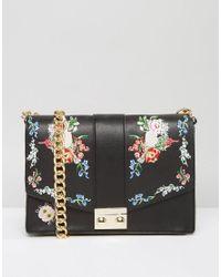 Embroidered Bag Women's Floral Shoulder Black 3AScR5jq4L
