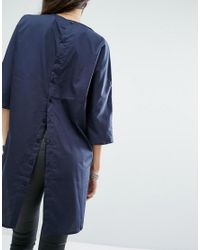 Noisy May Tall | Blue Button Back Oversized Shirt | Lyst