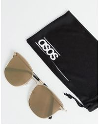 ASOS Metallic Angled Glasses In Shiny Gold With Gold Mirror Lens for men