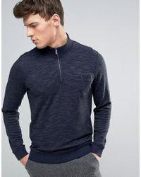 Ted Baker | Blue Half Zip Sweat With Pocket for Men | Lyst