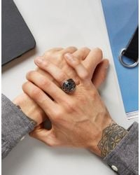 Seven London - Metallic Chunky Symbol Ring In Silver Exclusive To Asos for Men - Lyst