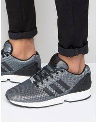 Adidas Originals Metallic Zx Flux Sneakers In Silver for men