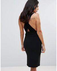 Love   Black Plunge Neck Cross Back Pencil Dress   Lyst