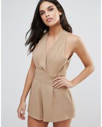 Love   Natural Halterneck Playsuit With Pleated Bust   Lyst