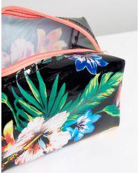 New Look Black Tropical Floral Make Up Bag