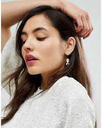 ASOS - Metallic Petal Jewel Swing Earrings - Lyst