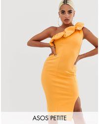 Vestido midi ajustado con diseño asimétrico y detalle abullonado ASOS de color Orange