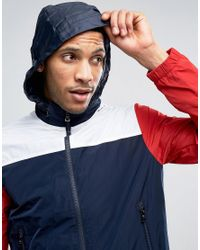 Tommy Hilfiger Blue Colour Block Nylon Jacket With Concealed Hood for men