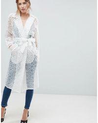 ASOS White Asos Organza Belted Coat