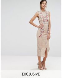 Hope and Ivy   Pink Hope & Ivy Embroidered High Neck Midi Dress In Allover Lace   Lyst