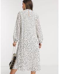 Плиссированное Платье Миди В Горошек -белый Warehouse, цвет: White