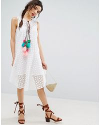 ASOS | White Sleeveless Broderie Dress With Dipped Hem And Pom Pom Trim | Lyst
