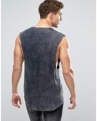 ASOS - Rib Longline Sleeveless T-shirt With Acid Wash In Black for Men - Lyst