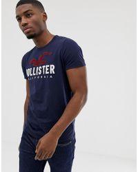 Hollister Blue Chest Embroidered Seagull Logo T-shirt for men