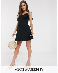 ASOS Black Asos Design Maternity Ribbed Cami Mini Sundress