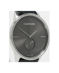 Часы С Серым Циферблатом И Черным Ремешком -черный Calvin Klein для него, цвет: Black