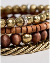 Icon Brand - Brown Beaded & Chain Bracelets In 4 Pack for Men - Lyst