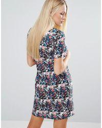 Girls On Film - Blue Floral Shift Dress With V-neck Back - Lyst