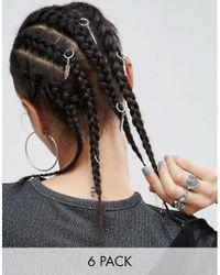 ASOS - Metallic Pack Of 6 Leaf Charm Hair Rings - Lyst