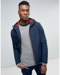 Timberland | Blue Hooded Shell Rain Jacket Slim Fit In Navy for Men | Lyst