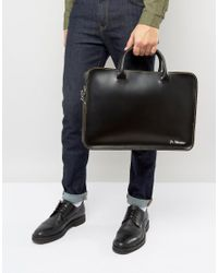 Dr. Martens - Black Leather Laptop Case With Yellow Stitching for Men - Lyst