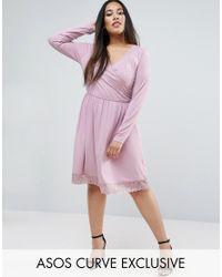 ASOS | Purple Mini Wrap Skater Dress With Lace Hem | Lyst