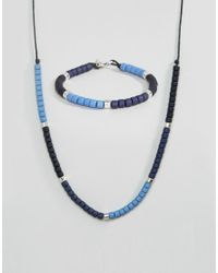 Icon Brand - Bead & Chain Necklace In Blue for Men - Lyst
