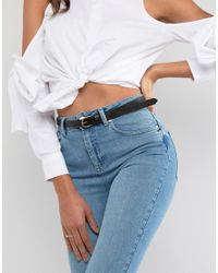 Pieces | Black Curved Buckle Waist And Hip Belt | Lyst