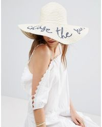 b10cbf6f75e ASOS  chase The Sun  Straw Oversized Floppy Hat in Brown - Lyst