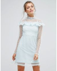True Decadence | Green High Neck Lace Mini Dress With Long Sleeves And Ruffle Details | Lyst