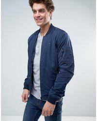 Tommy Hilfiger   Blue Denim Zip Through Padded Bomber Jacket for Men   Lyst