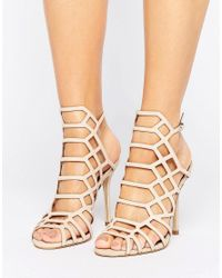 Steve Madden | Pink Slithur Blush Caged Heeled Sandals | Lyst