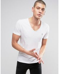 AllSaints | White T-shirt With Scoop Neck for Men | Lyst
