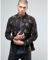 AllSaints | Black Shirt In Slim Fit With All Over Feather Print for Men | Lyst