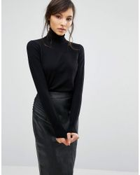 Oasis - Black Roll Neck Top - Lyst