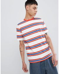 d87cae0869 ASOS Asos Relaxed T-shirt With Retro Stripe & Ringer in White for ...
