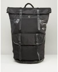 Stighlorgan | Black Ronan Backpack With Roll Top In Canvas With Leather Trim for Men | Lyst