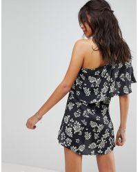 Flynn Skye Black Exclusive One-shoulder Floral Mini Dress
