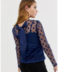 Boohoo Blue Exclusive Petite Polka Sheer Tie Back Top In Navy