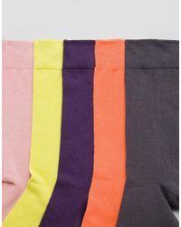 ASOS Multicolor Socks In Faded Neons 5 Pack for men