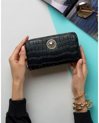 Versace Black Jeans Moc Croc Zip Around Purse