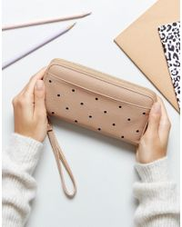 Yoki Fashion - Natural Yoki Studded Zip Around Purse - Lyst