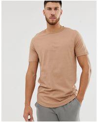 River Island – T-Shirt mit abgerundetem Saum in Brown für Herren