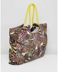 Monki - Multicolor Butterfly Print Beach Bag - Lyst