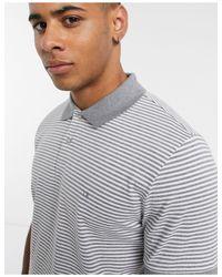 Polo a righe con logo a stemma di Calvin Klein in Gray da Uomo