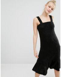 Monki | Black Super Soft Fluffy Knitted Jumper Dress | Lyst