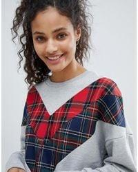 Bershka - Gray Check Detail Sweater - Lyst