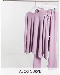 ASOS DESIGN Curve - Completo leggero con felpa e joggers lilla di ASOS in Purple